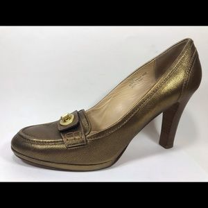 Coach Danna Gold Leather Pumps Sz 11B